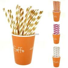 New 25PCS Stripe Gold Paper Drinking Straws Party Wedding Birthday Party N4U8