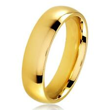 Gold Plated Polished Stainless Steel Domed Comfort-Fit Wedding Band Ring - 5mm
