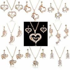 Fashion Rhinestone Crystal Love Heart Flower Necklace Earrings Set Women Jewelry