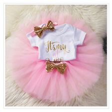 Newborn Baby Girls It's My 1st Birthday Clothes Outfits Party Tutu Skirt Romper