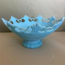 VINTAGE WESTMORELAND GLASS LACE PATTERN BLUE SATIN LARGE FOOTED  BOWL