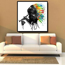 Native American Chief Black Silhouette Watercolor Oil Painting Wall art Unframed