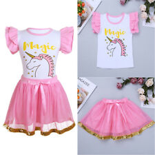 Kids Baby Girls Unicorn Dress Outfit Party Birthday T-shirt Tops+Tutu Skirt Sets