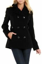 Kenneth Cole Women's Trench Coat Wool Blend Long Jacket Peacoat Black with Belt