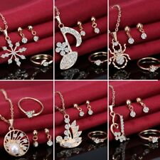 Crystal Pearl Swan Heart Snow Necklace Earrings Ring Wedding Bridal Jewelry Set