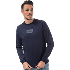Mens D-Struct Burrow Crew Sweat In Navy- Ribbed Cuffs, Hem And Collar- Crew