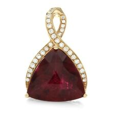 Rubellite Tourmaline and Pave Diamond Pendant Enhancer in 18K Rose Gold | FJ