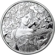 1 OZ SILVER COIN ALPHONSE MUCHA CHAMPAGNE WHITE STAR #4 IN SERIES ANONYMOUS MINT