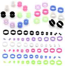 12/22pcs Mixed Silicone Flexible Ear Skin Plugs Tunnels Solf Expander Stretching
