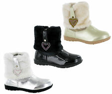 RSB Winter Fur Snow Girls Fashion Ankle Zip Up Shiny Smart Infant Boots UK 5-12