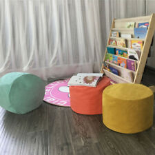 Round Ottomans Bean Bag Cover Footstool Slipcover Kids Toy Storage Footrest
