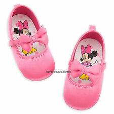 Minnie Mouse Solid Pink with Bow COSTUME BABY SHOES 6-12 12-18 Disney Store NEW