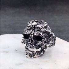 Men's Fashion Cool Gothic Punk Skull Stainless Steel Finger Rings Jewelry Silver