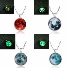 Fashion Women Luminous Moon Glow in the Dark Pendant Necklace Jewelry Party Gift