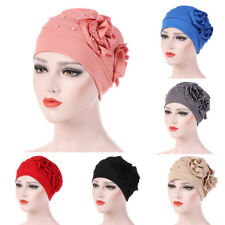 Women Ladies Beading Hat Muslim Ruffle Cancer Chemo Beanie Comfy Turban Wrap Cap