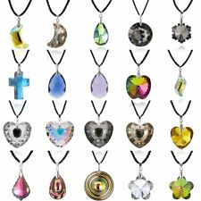 Cross Flowers Crystal Rhinestone Drop Pendant Necklace Leather Chain Jewelry Hot