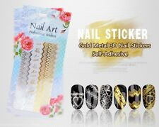 3D Nail Art Gold Metal Self-Adhesive Stickers Manicure UV Tips DIY Decorations