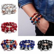3Pcs Love Wing Multilayer Natural Stone Crystal Bangle Beaded Bracelet Jewelry