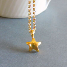 U&C Sundance 22k Vermeil / Fine Silver TINY STAR 14k Gold Filled Chain Necklace