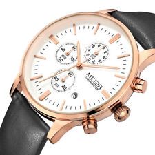 Megir Mens Quartz Analog Sport Wrist Watch Chronograph Date Leather Luminous