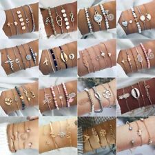 Womens Simple Initial Knot Bracelet Bridesmaid Opening Punk Cuff Bangle Jewelry
