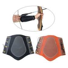 Archery Bow Arm Guard Protection Forearm Cow Leather Safety Shooting 4-Strap