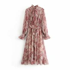 Womens Ruffled Neck Tie Belt Floral Print Long Sleeve Chiffon Dress Wholesale