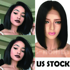 New Virgin Indian Remy Human Hair Bob Lace Front Wig Full Lace Pre Plucked Black