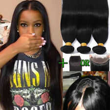 DELUXE 3 Bundles 100% Unprocessed Brazilian Virgin Human Hair with Closure Weave