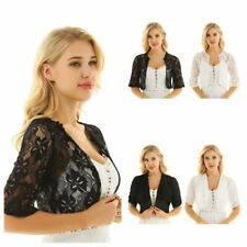 Plus Size S-4XL Women's Lace Bolero Shrug Open Front Cropped Party Cardigan Tops