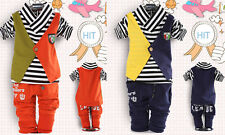 2pcs Toddler Infant Baby Boy Fake Two-piece Striped Tops+Pants kids Clothes set