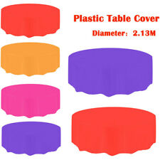 Large Plastic Circular Table Cover Cloth Wipe Clean Party Tablecloth Covers Hot