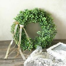 Artificial Green Leaves Wreath Plastic Round Shell Grass Boxwood Party Decor