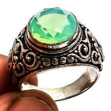 Green Milky Opal  925 Sterling Silver Overlay Ring Handmade Jewelry Sz 9