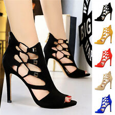 Sexy Womens Night-Club Party Shoes High Heels Hollow-Out Zip Peep Toe Sandals