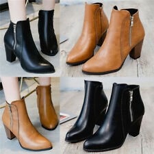 Ladies Women Smart High Heel Block Cowboy Style Zip Ankle Boots Comfy Shoes Size