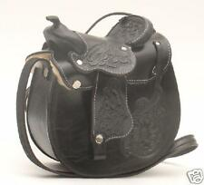 "NEW! Western Leather Saddle Purse 8""x8"" Black Brown Burgundy"