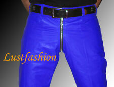 mens leather pants 28 29 30 31 32 33 34 36 blue leather trousers gay pants NEW