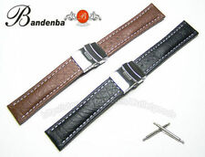18mm 20mm 22mm Deployant Clasp Leather Watch Band Strap