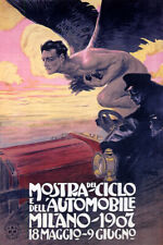 1907 MOSTRA CICLO AUTOMOBILE MILANO MEN WITH WINGS ITALY VINTAGE POSTER REPRO