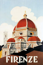 FIRENZE THE DUOMO FLORENCE CATHEDRAL SANTA MARIA DEL FIORE VINTAGE POSTER REPRO