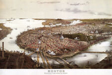 1800'S BIRDS EYE VIEW MAP PARK STREET BOSTON FROM NORTH VINTAGE POSTER REPRO