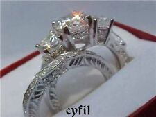 925 Sterling Silver 2.56Ct Cz Engagement Wedding Ring Set Size  5 6 7 8 9