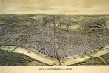 1900 PANORAMIC VIEW MAP CINCINNATI OHIO AMERICAN USA POSTER REPRO