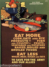 WAR EAT MORE FRESH FOOD EAT LESS MEAT SAVE TO ARMY ALLIES VINAGE POSTER REPRO
