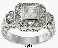 Sterling Silver 925 Princess Cut CZ Engagement Wedding Ring Antique Style 5-9