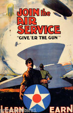 JOIN THE AIR SERVICE LEARN EARN ZEPELLIN BALLOON AIRPLANE VINTAGE POSTER REPRO