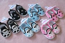 NEW BABY BOYS GIRLS SKULL CROSSBONE SOFT PRAM SLIP ON SHOES 6-9-12-15 MONTHS
