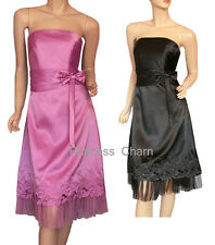NEW Black Purple Satin Formal Dress Size 10 12 14 16 18 20 22 New