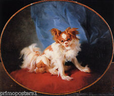 PORTRAIT OF A KING CHARLES SPANIEL DOG PAINTING BY JEAN BAPTISTE HUET REPRO